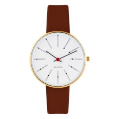 ARNE JACOBSEN BANKERS 34MM BROWN / GOLD