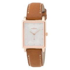 LES PARTISANES RETRO ROSE GOLD BROWN LEATHER