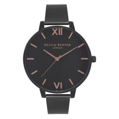 OLIVIA BURTON BIG DIAL AFTER DARK MATTE BLACK, ROSE GOLD & BLACK MESH