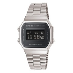 CASIO A168WEM-1EF SILVER BLACK MIRROR