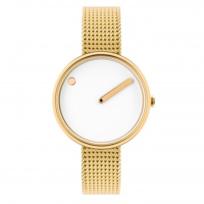 PICTO 30 MM WHITE/POLISHED GOLD