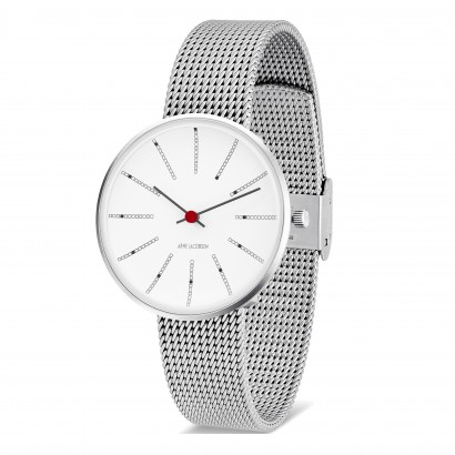 ARNE JACOBSEN BANKERS 34MM SILVER MILANESE
