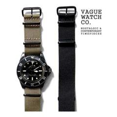 VAGUE WATCH BLACK SUB OLIVE AND BLACK NYLON