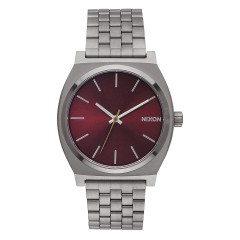 NIXON THE TIME TELLER GUNMETAL DEEP BURGUNDY